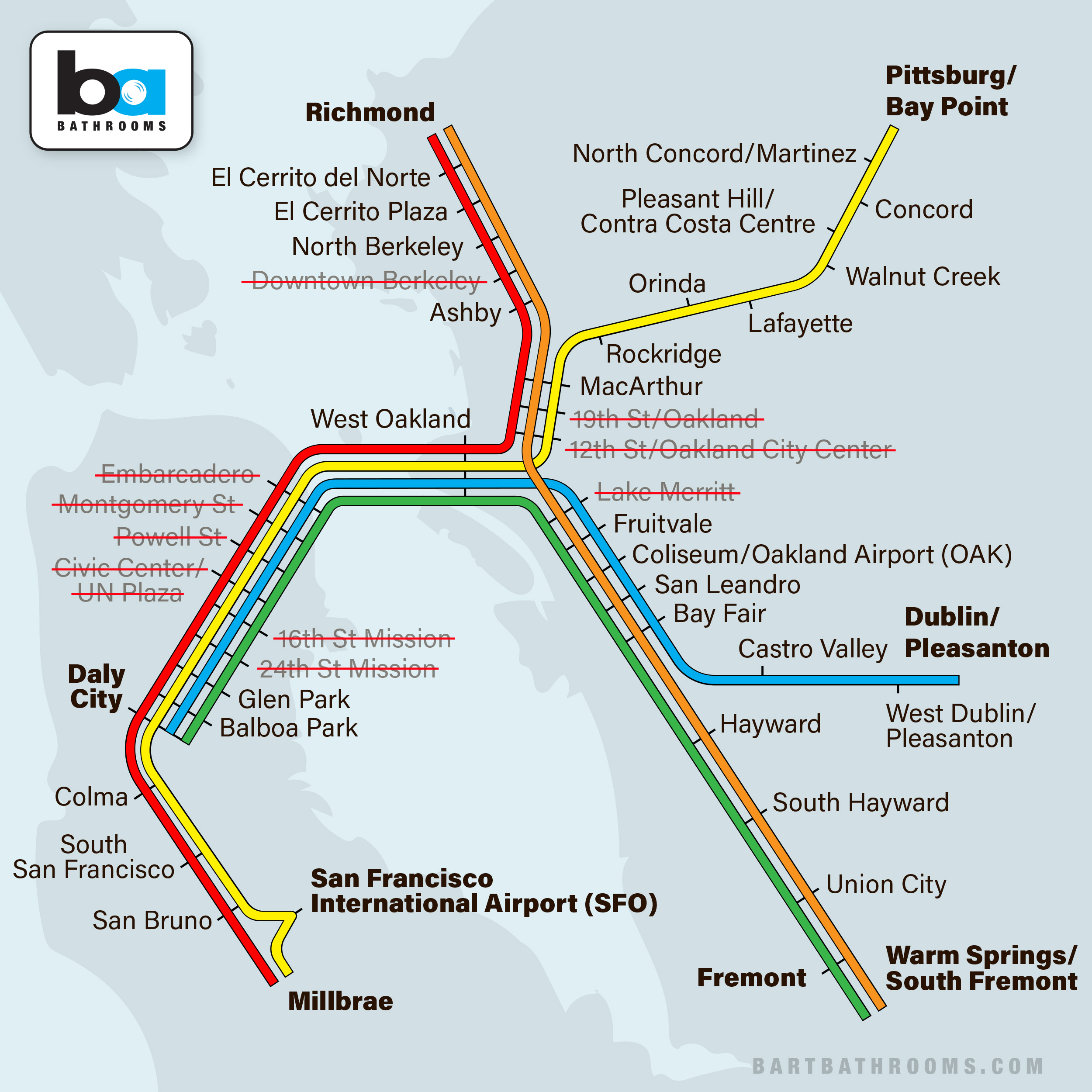 BART Bathrooms  A Map Of BART Public Restrooms By Station